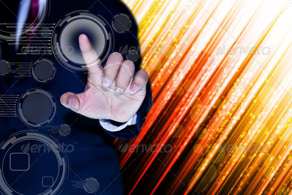 hand of business man pushing a button on a touch screen interface  - Stock Photo - Images