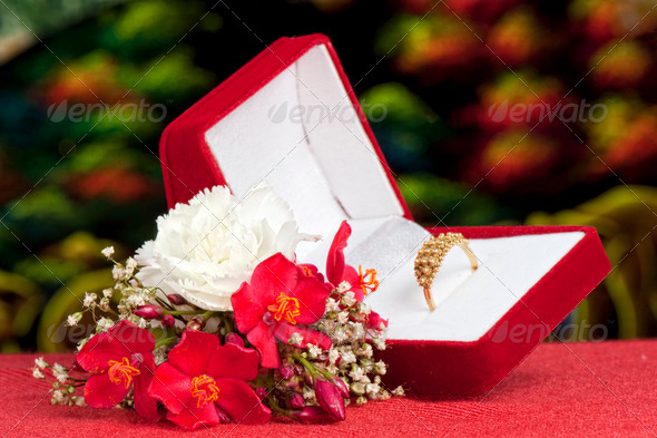 flowers and wedding rings - Stock Photo - Images