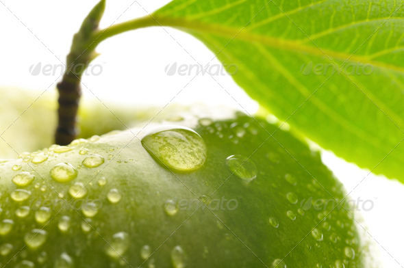 fresh green wet apple with leaf, granny smith  macro shot - Stock Photo - Images