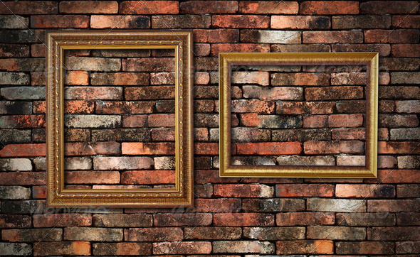 grunge wall and two frames for fill picture in - Stock Photo - Images