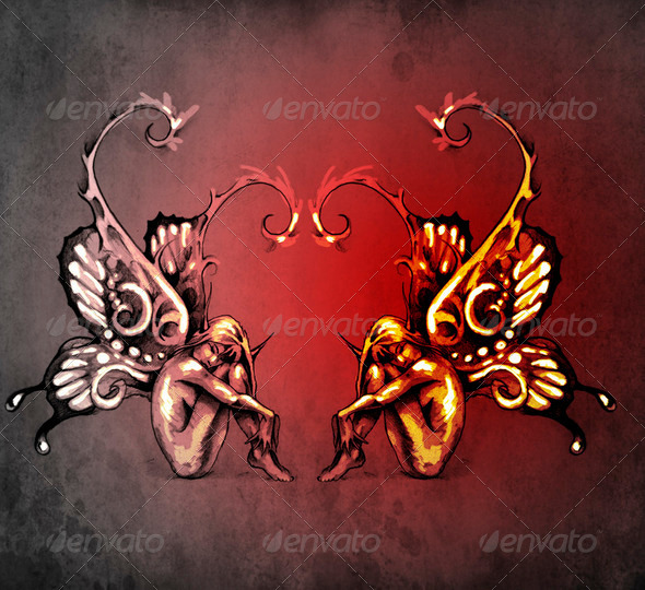 Duality concept tattoo, two  fairy on blue vintage background - Stock Photo - Images
