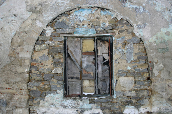Old stone wall with a window - Stock Photo - Images