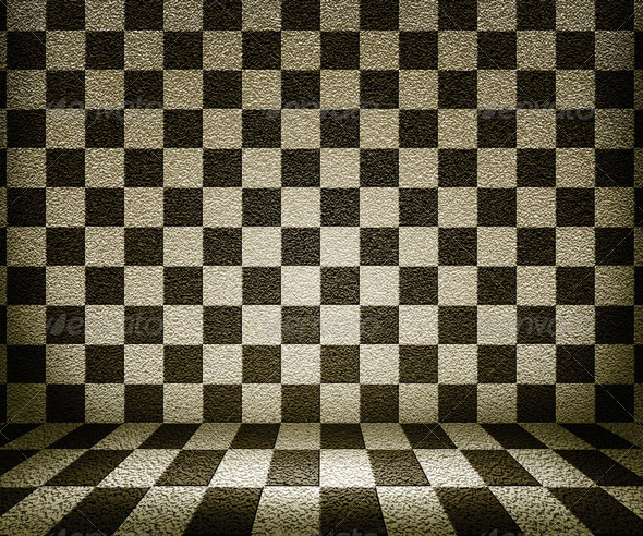 Sepia Chessboard Room Background - Stock Photo - Images