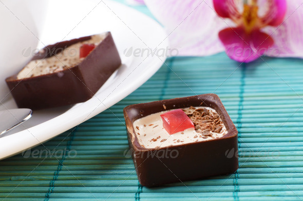 Coffee and chocolate candy - Stock Photo - Images