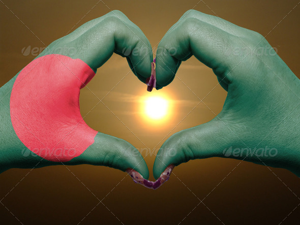 Heart and love gesture by hands colored in bangladesh flag durin - Stock Photo - Images