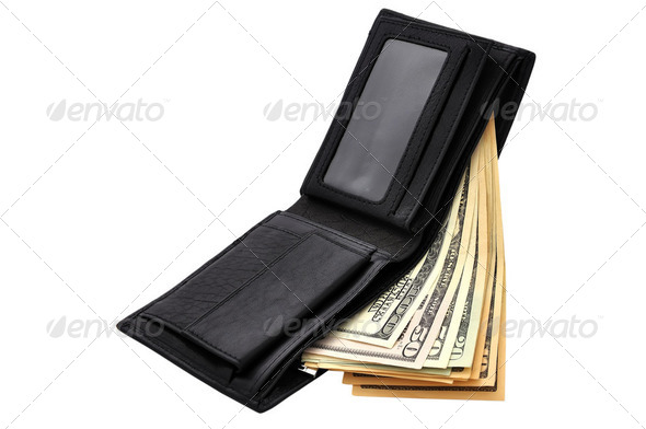 purse and dollars - Stock Photo - Images
