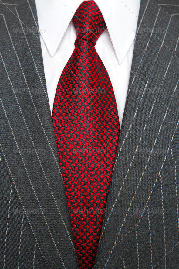 Grey pinstripe suit and tie - Stock Photo - Images