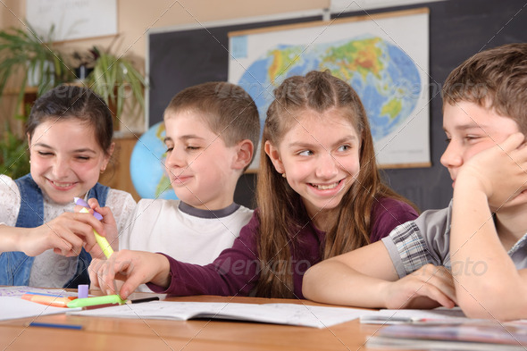 Elementary school pupils - Stock Photo - Images