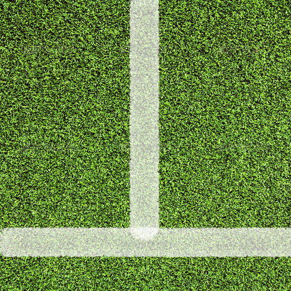 Sport line on artificial green grass - Stock Photo - Images