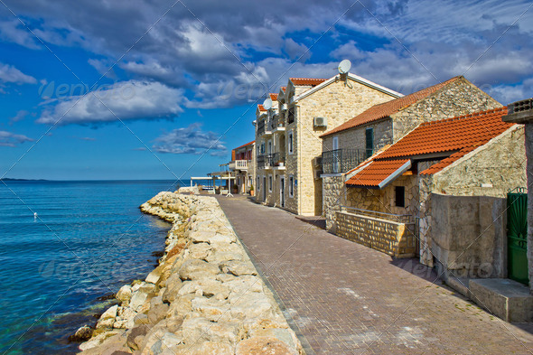 Adriatic coast - Dalmatian town of Bibinje waterfront - Stock Photo - Images