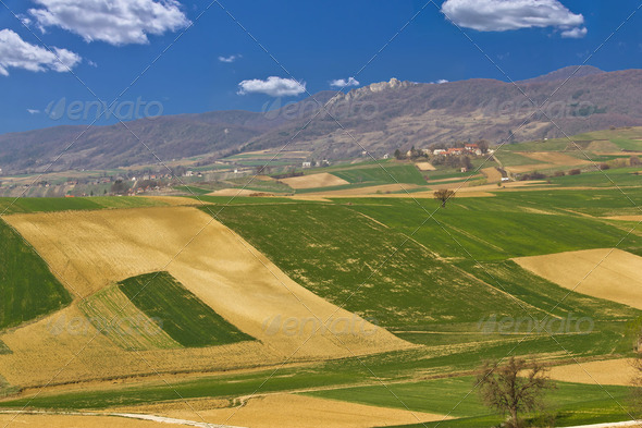 Beautiful green scenery - fields and mountain - Stock Photo - Images