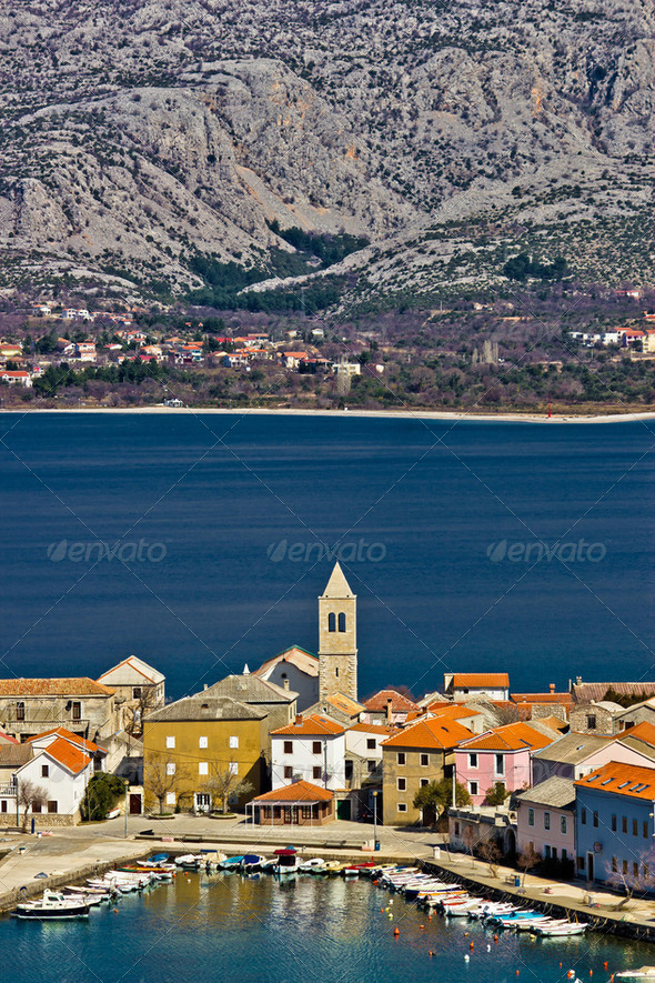 Idyllic adriatic town of Vinjerac and Paklenica national park, Dalmatia, Croatia - Stock Photo - Images
