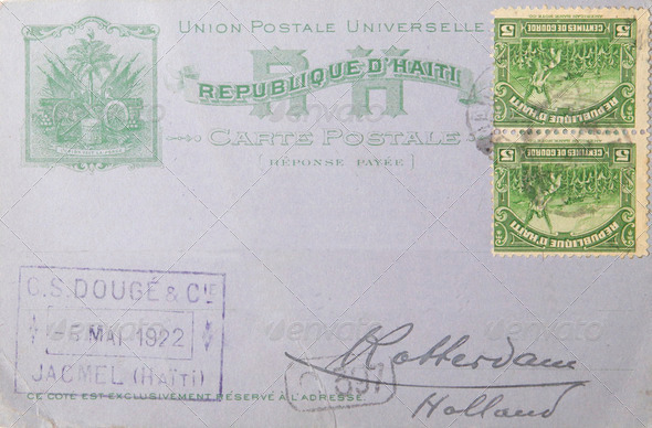 Envelope from Haiti in 1922 - Stock Photo - Images