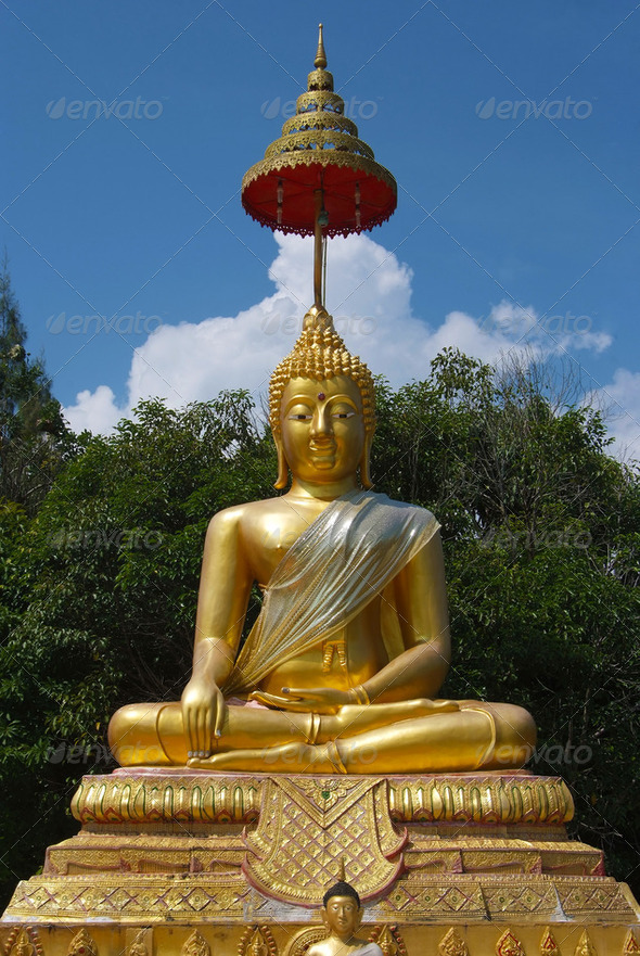 Golden Buddha statue - Stock Photo - Images