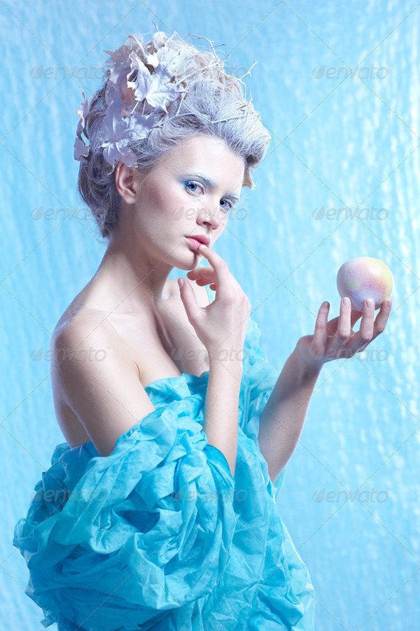 frozen fairy with apple - Stock Photo - Images