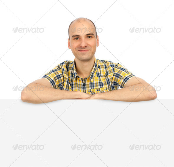 Happy handsome smiling man with banner. Isolated over white back - Stock Photo - Images