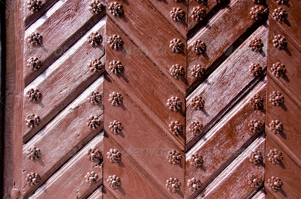 Background of ancient retro wooden brown door - Stock Photo - Images