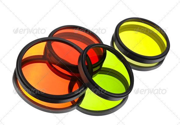 Color filters for lenses over white - Stock Photo - Images
