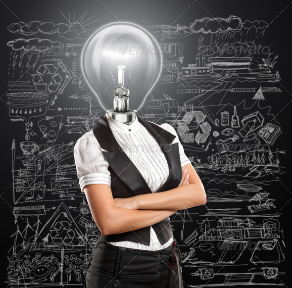 Lamp Head Business Woman - Stock Photo - Images