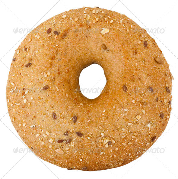 Bread. Bagel on the white background - Stock Photo - Images
