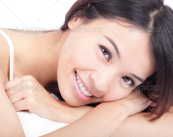 portrait of woman smile face in relax pose - Stock Photo - Images