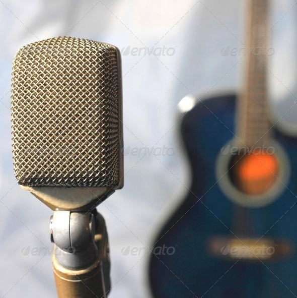 Vintage Microphone and Guitar - Stock Photo - Images