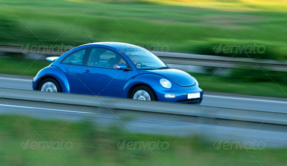 Fast Car With Motion Blur - Stock Photo - Images