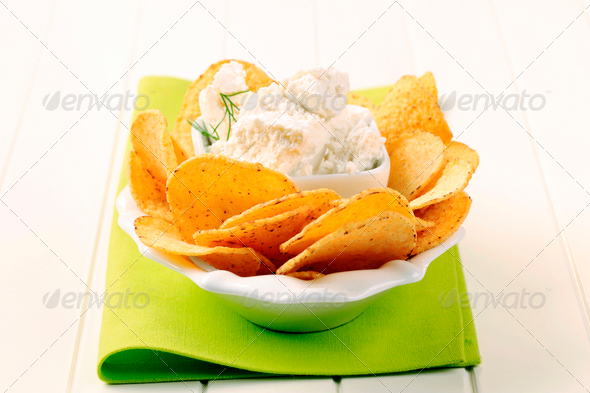 Tortilla chips and curd cheese - Stock Photo - Images