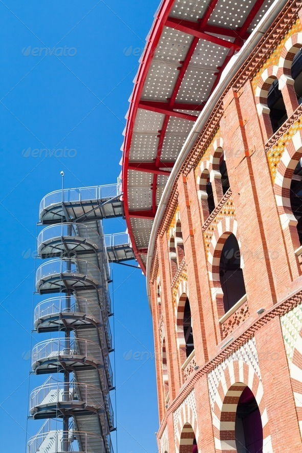 bullring Arena de Barcelona on Placa Espanya - Stock Photo - Images