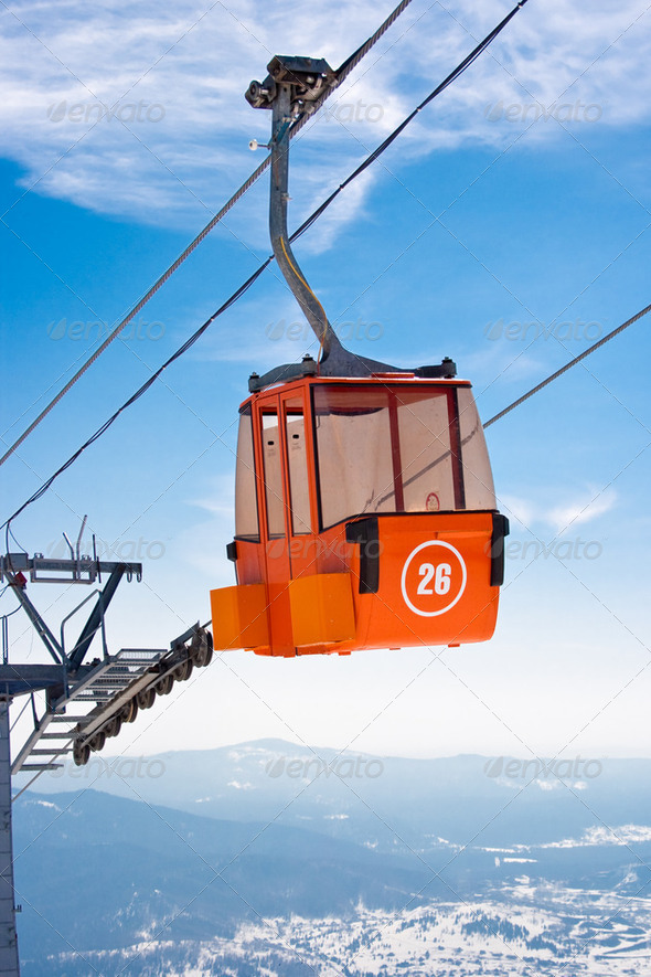 Ski lift cable booth or car - Stock Photo - Images