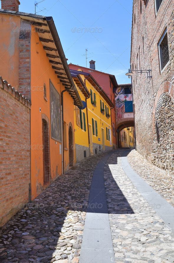 Alleyway. Dozza. Emilia-Romagna. Italy. - Stock Photo - Images
