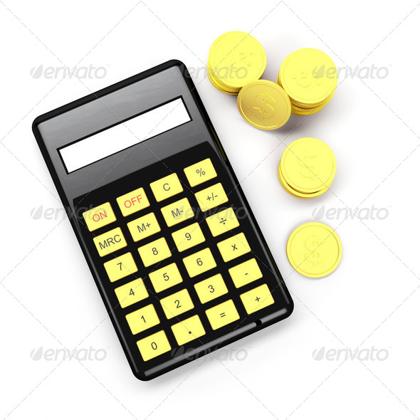 Calculator and coins - Stock Photo - Images