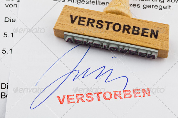 wood stamp on the document: died - Stock Photo - Images