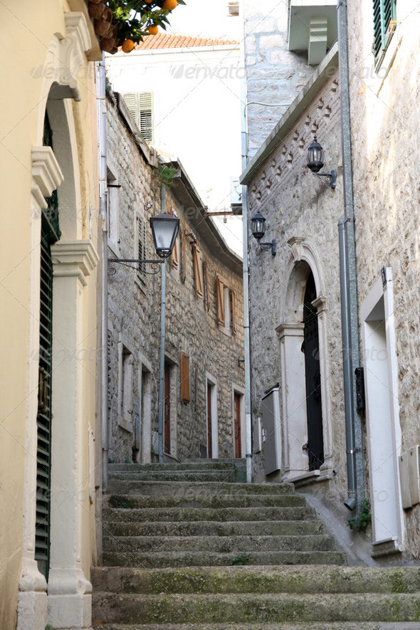 Backstreet in old town of Herceg Novi, Montenegro - Stock Photo - Images