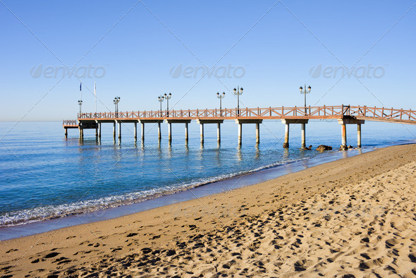 Beach Pier in Marbella - Stock Photo - Images