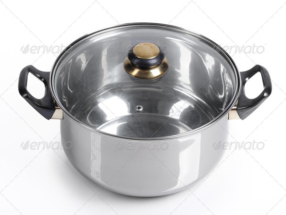 Metallic pan isolated - Stock Photo - Images