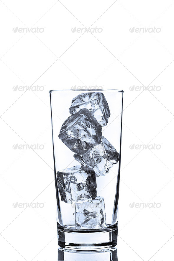 Empty Glass with ice Cubes - Stock Photo - Images
