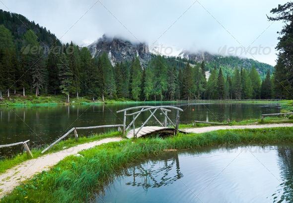 Alpine summer lake view - Stock Photo - Images