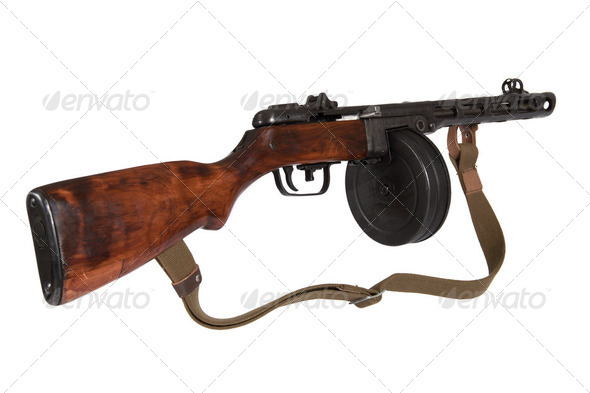 Submachine gun Shpagina sample of 1941, isolated, on a white bac - Stock Photo - Images