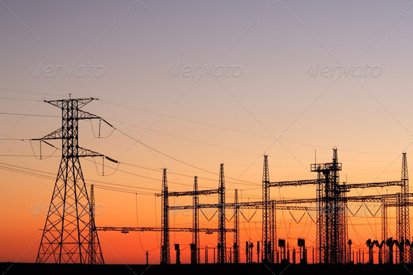 Power pylons - Stock Photo - Images