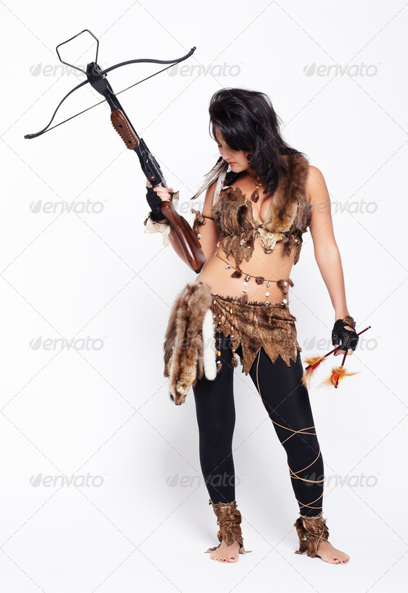 woman with arbalest - Stock Photo - Images