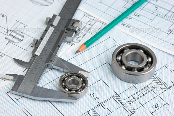 technical drawing and bearing - Stock Photo - Images
