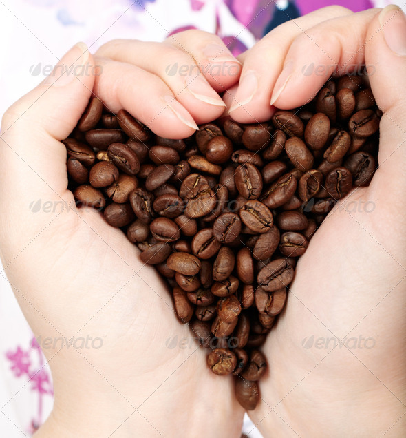 Heart coffee grains - Stock Photo - Images