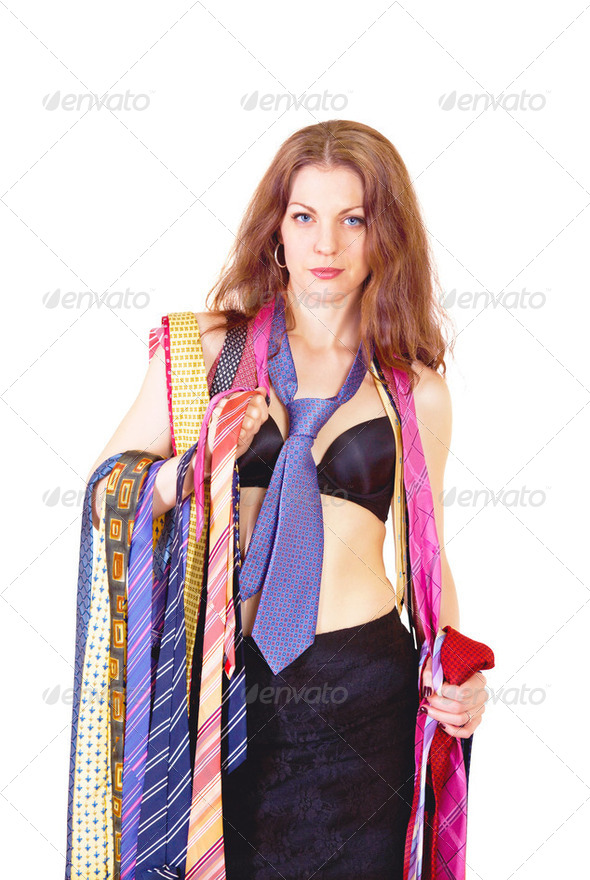 Tie fashion girl - Stock Photo - Images