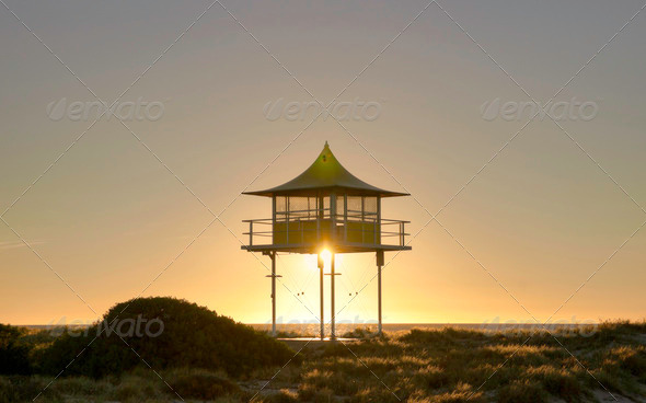 surf life savers lookout sunset - Stock Photo - Images