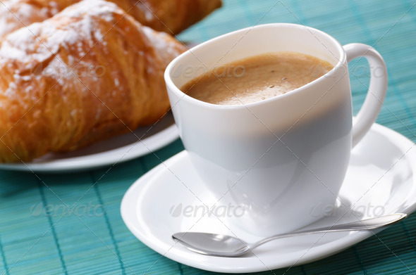 Coffee with croissants - Stock Photo - Images