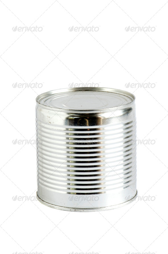 Canned peas vegetable products metal can isolated - Stock Photo - Images