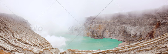 Panorama Khava Ijen Indonesia. - Stock Photo - Images
