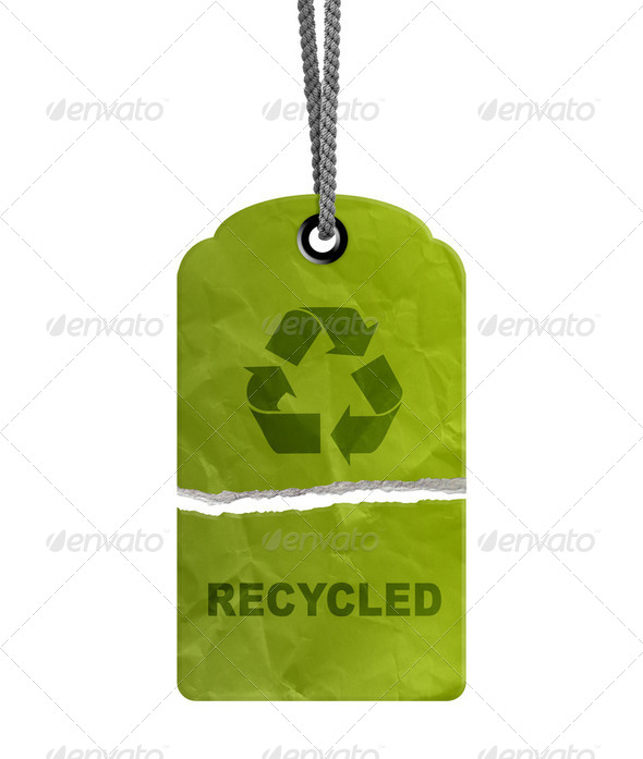 Torn eco recycle tag - Stock Photo - Images