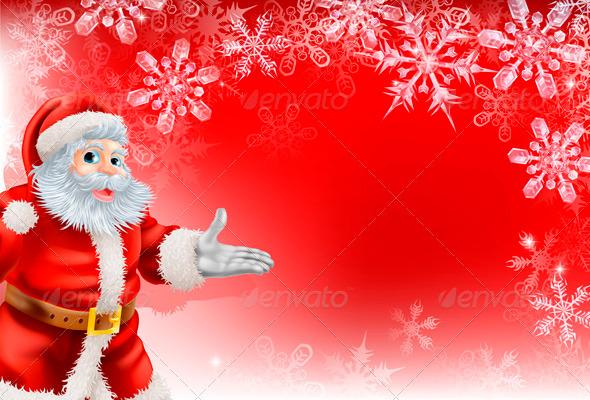 GraphicRiver Red Santa Christmas Snowflake background 3350067